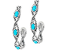 Carolyn Pollack Sterling Silver Sleeping Beauty Turquoise Hoop Earrings - J334012