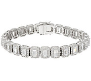 Diamonique Emerald Cut Halo Tennis Bracelet, Sterling - J334212