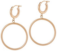 Vicenza Gold Double Circle Drop Earrings 14K Gold - J334612