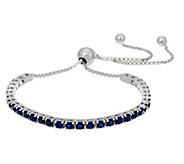 Colors of Sapphire Sterling Silver Adjustable Tennis Bracelet - J334812