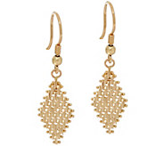 Imperial Gold Lame Marquise Dangle Earrings 14K Gold - J335112