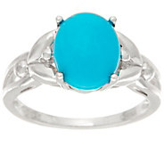 Oval Sleeping Beauty Turquoise Sterling Silver Ring - J335712