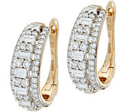 Baguette & Round White Diamond Hoop Earrings, 14K 1.00 cttw - J348812