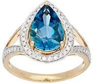 As Is 3.10 ct London Blue Topaz & 1/3ct tw Diamond Ring 14K Gold - J351112