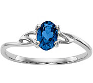 14K White Gold Oval Gemstone Solitaire Ring - J377012