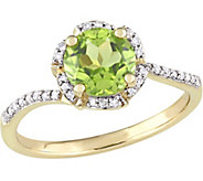 14K Gold 1.50 Peridot & 1/10 cttw Diamond Floral Halo Ring - J377112
