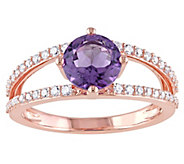 1.30 ct Amethyst and 1/4 cttw Diamond Ring, 14KRose Gold - J377212