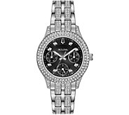 Bulova Womens Swarovski Crystal Watch w/ BlackDial - J378512