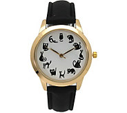 Olivia Pratt Womens Cat Hour Leather Watch - J379412