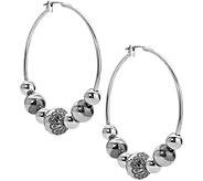 American West Sterling Beaded 1/2 Hoop Earring - J379612