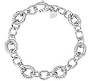 Italian Silver Textured Round Link Bracelet Sterling, 17.9g - J379812