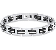 Forza Mens Stainless Steel and Black Rubber Link Bracelet - J380112