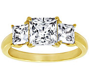 Diamonique 2.60 cttw Three Stone Princess-Cut Ring, 14K Gold - J380512