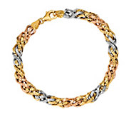 Italian Gold Tri Color Basket Weave Bracelet 14K, 5.2g - J381512