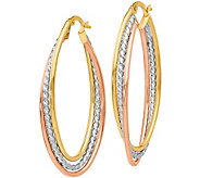 Italian Gold 1-3/4 Tri-Color Oval Hoop Earrings 14K, 2.5g - J382212