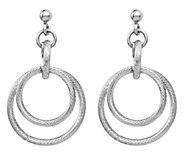 Italian Silver Round Hoop Dangle Earrings - J382912