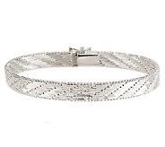 UltraFine Silver 7-1/4 Scaletto 1/4 Riccio Bracelet, 16.6g - J278113