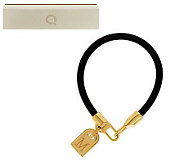Yellow Bronze Initial Tag Leather Bracelet by Bronzo Italia - J282113