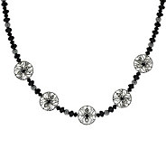 Kenneth Johnson Sterling Signature Bead & Black Spinel Necklace - J284613