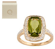 Premier 2.50 ct Peridot and 1/8 ct tw Diamond Ring, 14K Gold - J284813