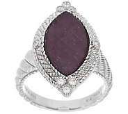 Judith Ripka Sterling 5.25ct Ruby and Diamonique Marquise Ring - J288713