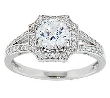Epiphany Diamonique Vintage Halo Ring