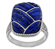 Judith Ripka Sterling Carved Lapis & Rope Detail Ring - J290213