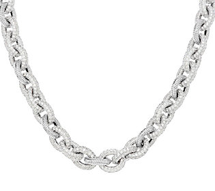 Product image of Judith Ripka Sterling 30.4ct Pave Diamonique Oval Link Toggle Necklace