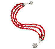 American West Sterling 3-Strand Red Coral Bead Bracelet - J295113