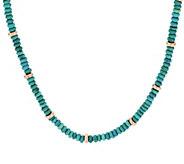 Bronze 18 Turquoise & Bead Necklace by Bronzo Italia - J296013