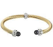 Stainless Steel Twisted Rope Cuff with Endcaps - J297013