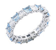 Diamonique & Vivid Blue Eternity Band Ring,Platinum Clad - J302413