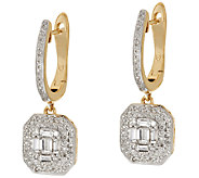 Baguette & Round Halo Drop Diamond Earring 14K, 3/4 cttw, by Affinity - J318513