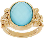 14K Gold Sleeping Beauty Turquoise Doublet Ring - J319413