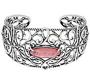 Carolyn Pollack Sterling Silver Rhodochrosite Scroll Design Cuff Bracelet - J320113