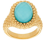 14K Gold Textured Sleeping Beauty Turquoise Doublet Ring - J322313