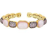 Judith Ripka Sterling &_14K Clad_Pink Doublet & Pave Cuff Bracelet - J322513