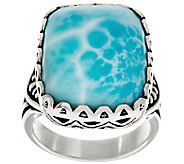 American West Cushion Cut Larimar Sterling Silver Ring - J323513