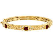 Judith Ripka Sterling & 14K Clad Gemstone Bangle Bracelet - J325613