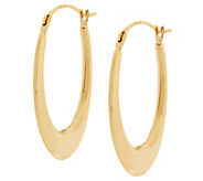 18K Gold Polished Elongated Oval Hoop Earrings - J326113