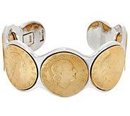 White Bronze 200 Authentic Lire Coin Cuff Bracelet by Bronzo Italia - J328813