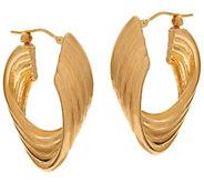 As Is Oro Nuovo 1-1/4 Polished Ribbed Twist Hoop Earrings, 14K - J329113