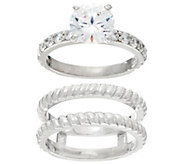 Diamonique Twisted Bridal Ring Set, Sterling or 14K Clad - J329313