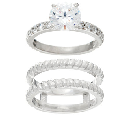 Diamonique Twisted Bridal Ring Set Sterling Or 14K Clad