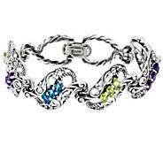 Carolyn Pollack Sterling Silver Signature Gemstone Link Bracelet 22.5g - J329613