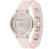 As Is Isaac Mizrahi Live! Quilted Ceramic Mother-of-Pearl Dial Watch - J329913