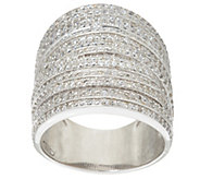 As Is Italian Silver Sterling Bold Pave Crystal Ring - J330413