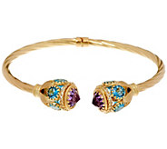Arte dOro Large 11.00 ct tw Gemstone Bangle 18K Gold 12.1g - J330613