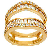 Diamonique Baguette Insert Ring, 14K Clad - J330813