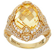 Judith Ripka 14K Clad 9.50 ct Yellow Diamonique Ring - J331213